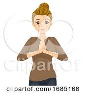 Teen Girl Namaste Illustration