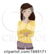 Teen Girl Bored Illustration
