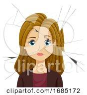 Teen Girl Broken Mirror Illustration