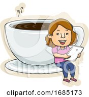 Teen Girl Coffee Cup Tablet Illustration