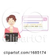 Senior Woman Laptop Search Illustration