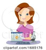 Girl Vet Fish Physical Exam Illustration