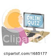 Senior Girl Online Quiz Illustration