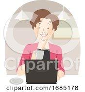 Poster, Art Print Of Senior Woman Coffee Laptop Cafe Illustration