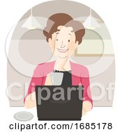 Senior Woman Coffee Laptop Cafe Illustration