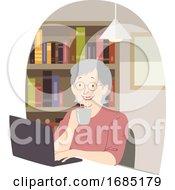 Poster, Art Print Of Senior Woman Laptop Coffee Library Illustration
