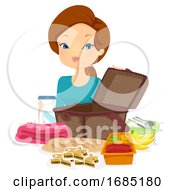 Girl Picnic Preparing Basket Illustration