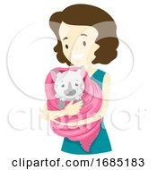 Girl Save Cat Illustration
