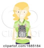 Girl Save Chinchilla Illustration