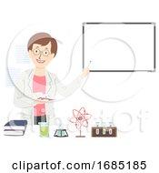 Poster, Art Print Of Girl Science Teacher Illustration