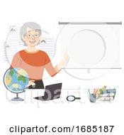 Girl Senior Geography Teacher Illustration