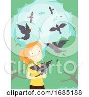 Girl Birds Rehabilitation Free Illustration