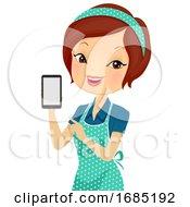 Poster, Art Print Of Girl Helper Phone Contact Illustration