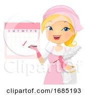 Poster, Art Print Of Girl Mark Calendar Cleaning Illustration