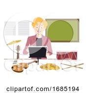 Poster, Art Print Of Girl Music Teacher Illustration