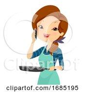 Poster, Art Print Of Girl Phone Invite Dinner Illustration