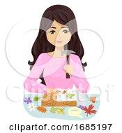 Teen Girl Activity Flower Pounding Illustration