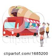Poster, Art Print Of Philly Cheese Steak Sandwich Food Truck Vendor
