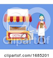 Man Chestnut Cart Illustration