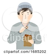 Man Chestnuts Illustration