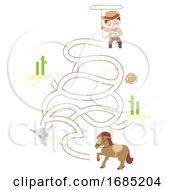 Kid Boy Cowboy Puzzle Horse Illustration
