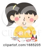 Kid Girl Nail Art Craft Illustration
