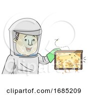 Man Honey Collector Illustration