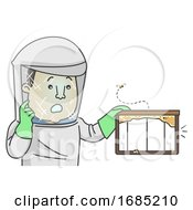 Man Honey Collector No Honey Illustration