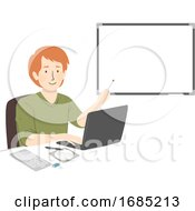 Poster, Art Print Of Man Computer Teacher Illustration