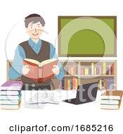 Poster, Art Print Of Man Literature Teacher Illustration