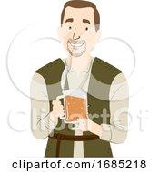 Man Medieval Beer Illustration