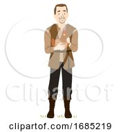 Man Medieval Farmer Chicken Illustration