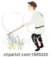 Man Medieval Farmer Scythe Illustration