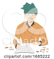 Poster, Art Print Of Man Medieval Tax Collector Illustration
