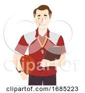 Poster, Art Print Of Man Physical Education Teacher Illustration