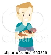Poster, Art Print Of Man Save Native Chicken Illustration