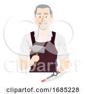 Man Senior Blacksmith Medieval Illustration