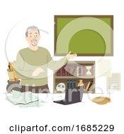 Poster, Art Print Of Man Senior History Teacher Illustration