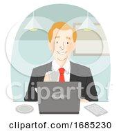 Poster, Art Print Of Man Suit Coffee Laptop Cafe Illustration