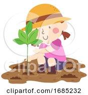 Kid Girl Plant Mangrove Illustration