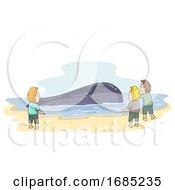 Shore Whale Floating Man Illustration