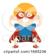 Kid Boy Super Hero Assertive Illustration