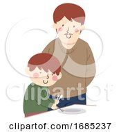 Kid Boy Occupational Therapy Blind Illustration