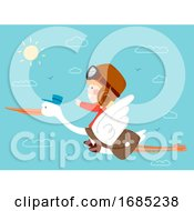Kid Boy Ride Bird Stork Travel Fly Illustration