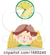 Kid Boy Ten Hours Sleep Time Illustration