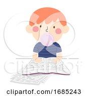 Kid Boy Bubble Gum Study Hack Illustration