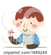 Kid Boy With Special Need Spinner Illustration