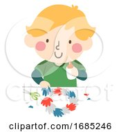 Kid Boy Hand Wreath Illustration