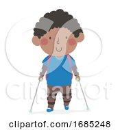 Kid Boy Kid Leg Brace Going School Illustration