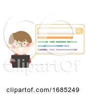Kid Boy Laptop Search Illustration